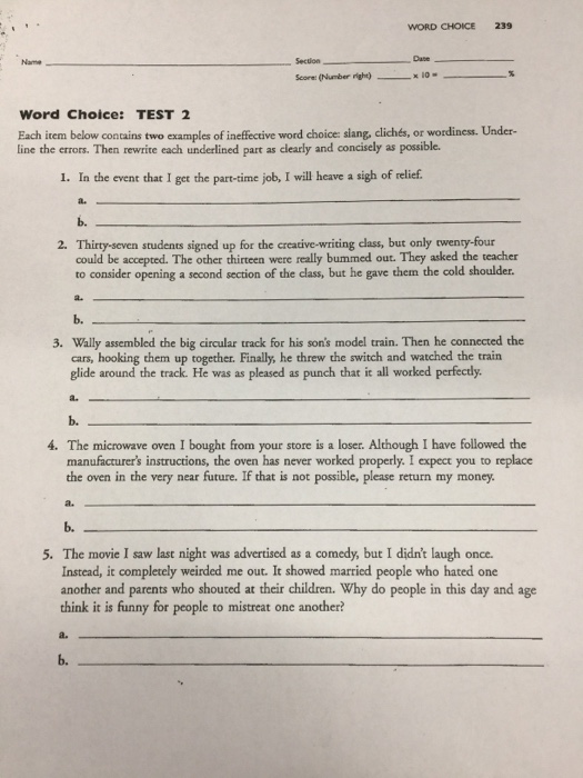 Word Choice 239 Section Word Choice Test 2 Each I Chegg Com