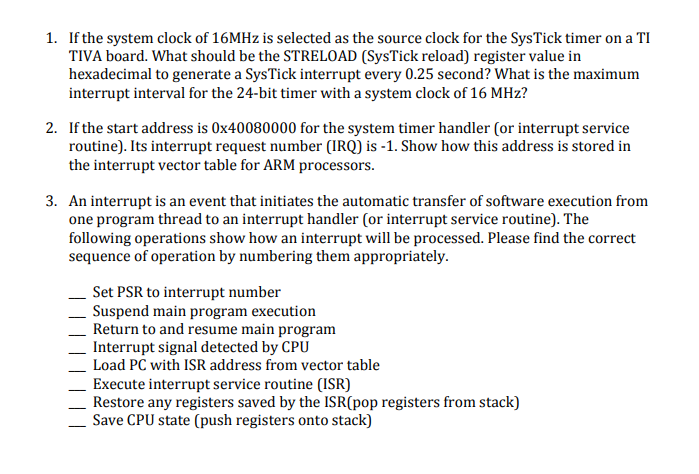 1  If The System Clock Of 16MHz Is Selected As The    | Chegg com