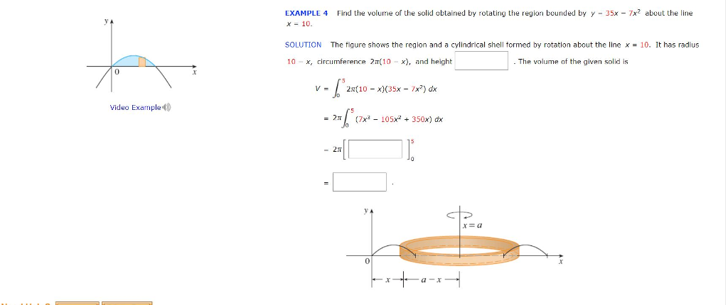 Solved: EXAMPLE 4 Find The Volume Of The Solid Obtained By