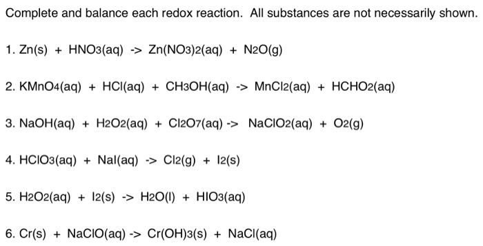 Solved: Complete And Balance Each Redox Reaction. All Subs ...
