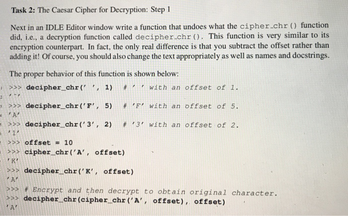 Solved: Thask 2: The Caesar Cipher For Decaryption: Step 1