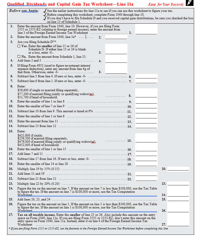 form 1040 qualified dividends and capital gain tax worksheet 2018  IN C++ PLEASW Create A Function For Calculating Th ...