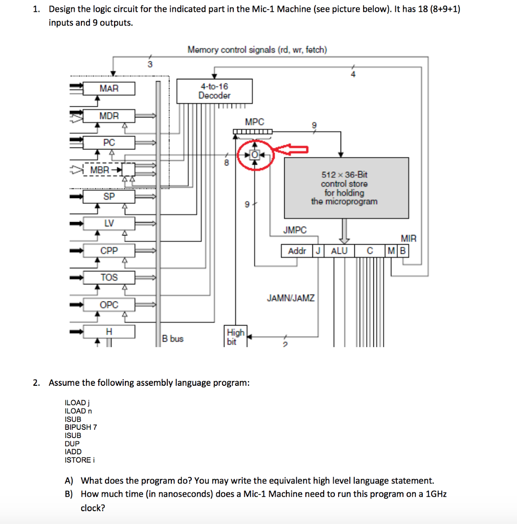 Design the logic circuit for the indicated part in the Mic-1 Machine