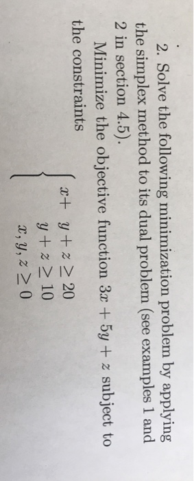 Simplex Method Minimization Example