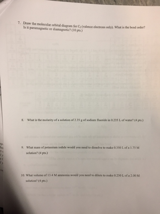 Solved Draw The Molecular Orbital Diagram For C2valence
