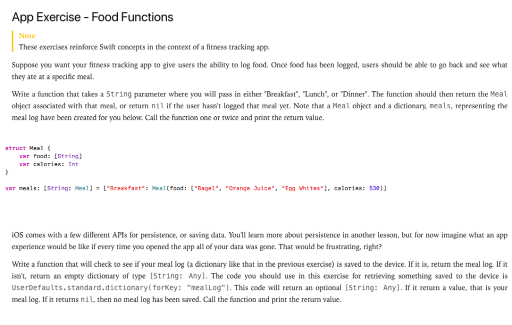 App Exercise - Food Functions Note These Exercises