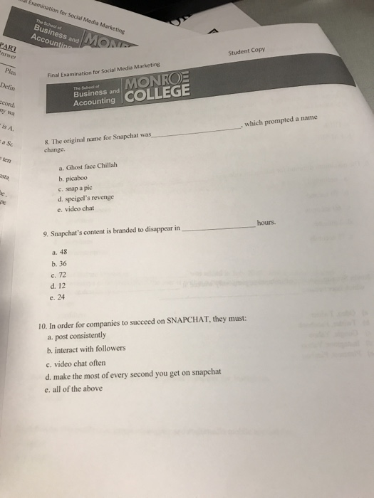 Solved: Student Copy Final Examination For Social Media Ma