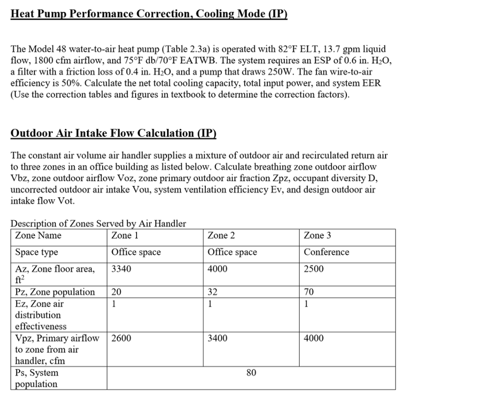 Heat Pump Performance Correction, Cooling Mode (IP