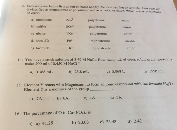 Solved 13 Each Response Below Lists An Ion By Name And B