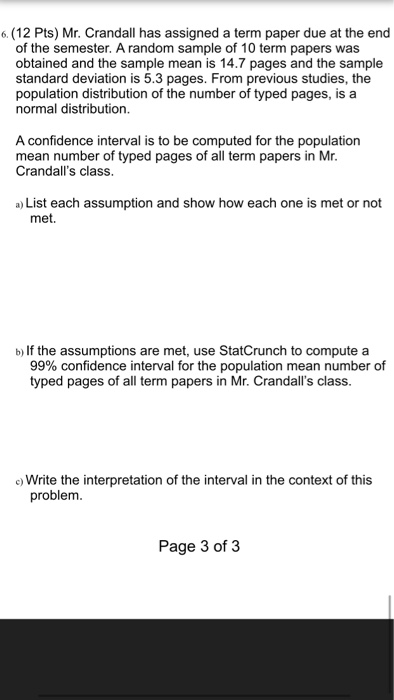 6  (12 Pts) Mr  Crandall Has Assigned A Term Paper