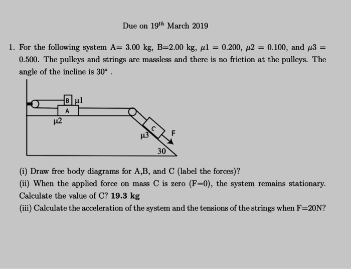 Solved: Due On 19th March 2019 I  For The Following System