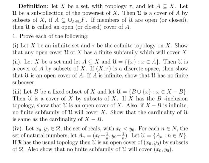 Definition: Let X Be A Set, With Topology τ, And Let A C X