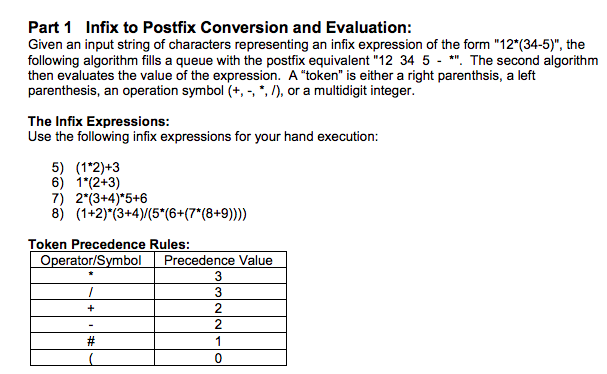 Part 1 Infix to Postfix Conversion and Evaluation: Given an input string of characters representing an infix expression of th