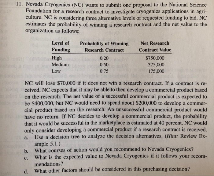 Solved: 11  Nevada Cryogenics (NC) Wants To Submit One Pro