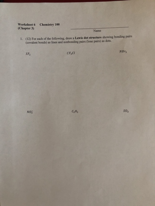 Solved: Worksheet 6 (Chapter 3) Chemistry 100 Name 1. (12 ...