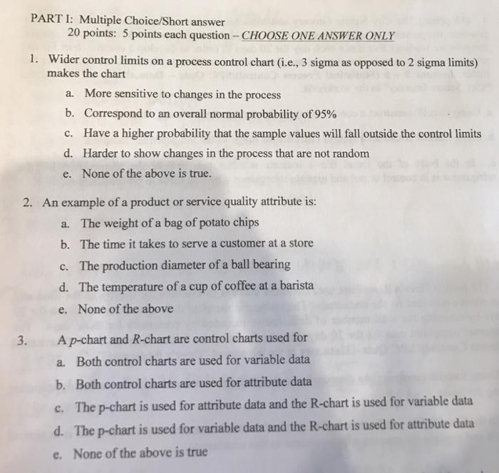 Part I Multiple Choice Short Answer 20 Points 5 Each Question