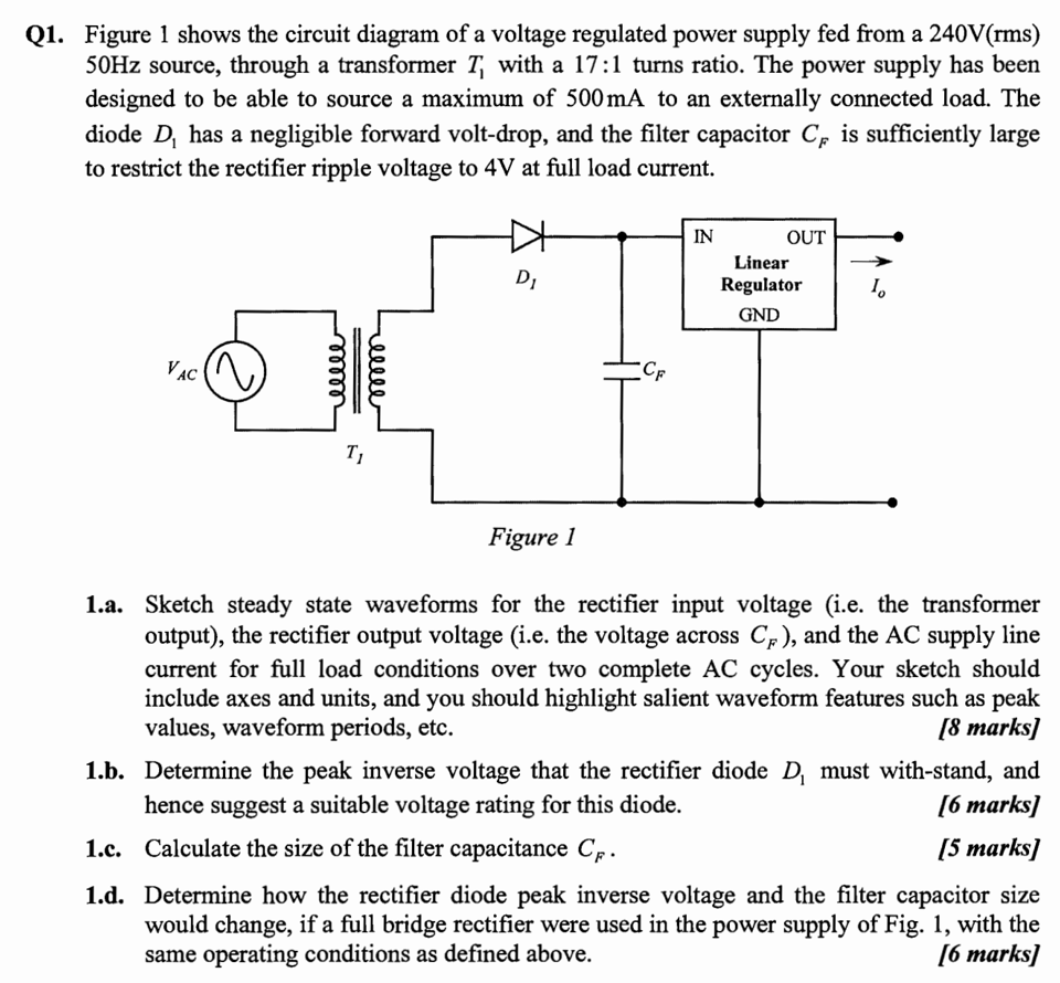 Solved: Figure 1 Shows The Circuit Diagram Of A Voltage Re