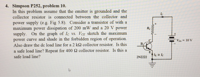 4. Simpson P252, problem 10. In this problem assume that the emitter is grounded and the collector resistor is connected between the collector and power supply (e.g. Fig 5.8). Consider a transistor of with a maximum power dissipation of 200 mW and a 20 V power supply. On the graph of Ic vs. VcE sketch the maximum power curve and shade in the forbidden region of operation. Also draw the dc load line for a 2 kΩ collector resistor. Is this a safe load line? Repeat for 400 Ω collector resistor. Is this a safe load line? lc - 2N2222