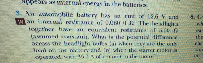 Ears As Internal Energy In The Batteries 3 An Automobile Battery Has Emf