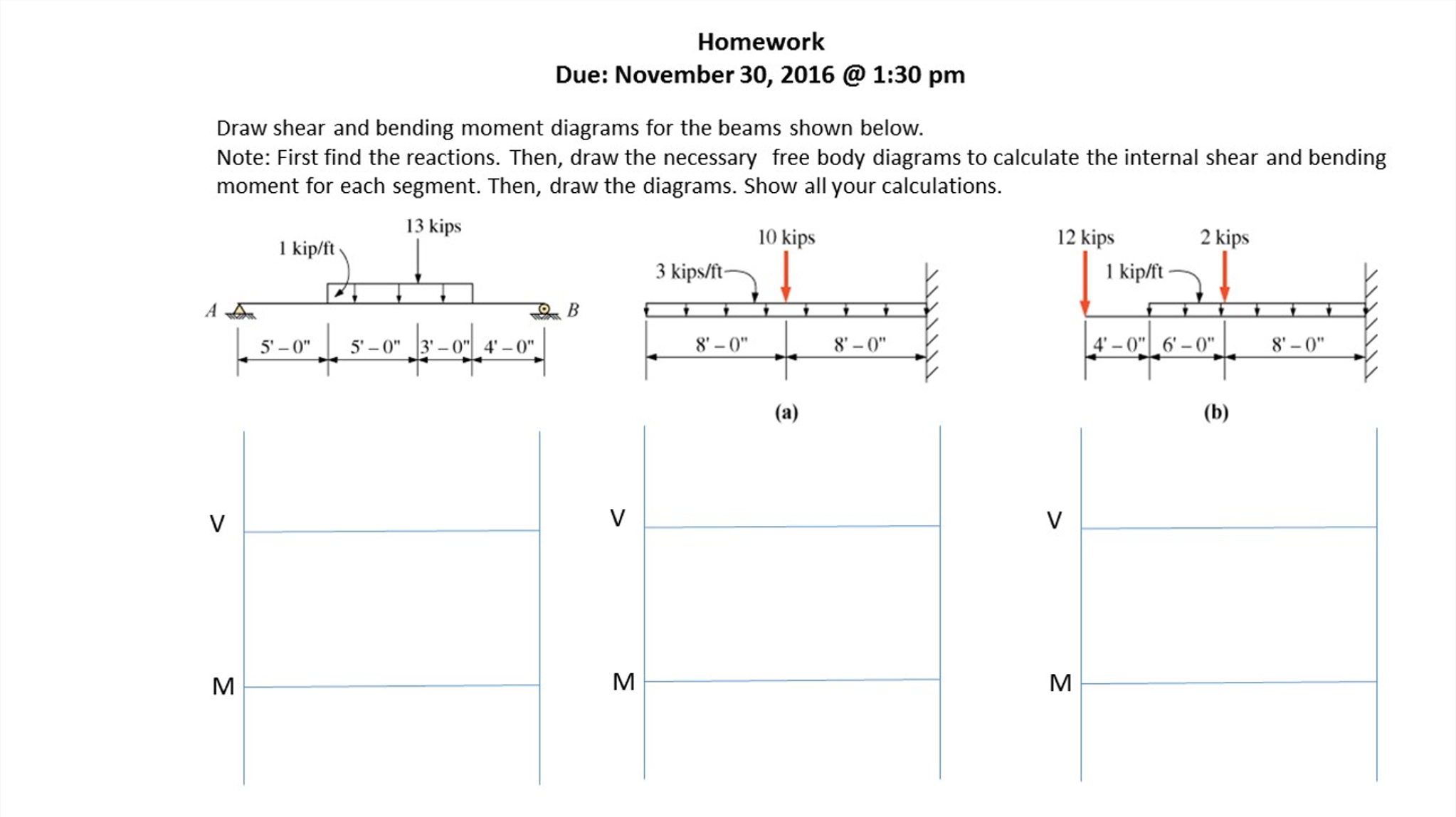 Solved For The Below Can You Please Calculate Reactio Of Reactant Bending Moment On Diagram Diagrams And Show Full Work All Three Problems Thank Homework Due November 30 2016 130 Pm Draw Shear