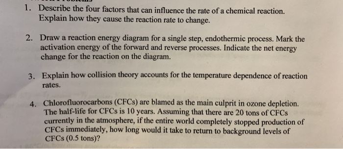 describe the four factors that can influence the rate of a chemical reaction