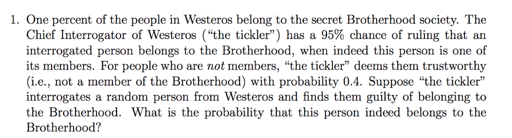 Solved: 1  One Percent Of The People In Westeros Belong To