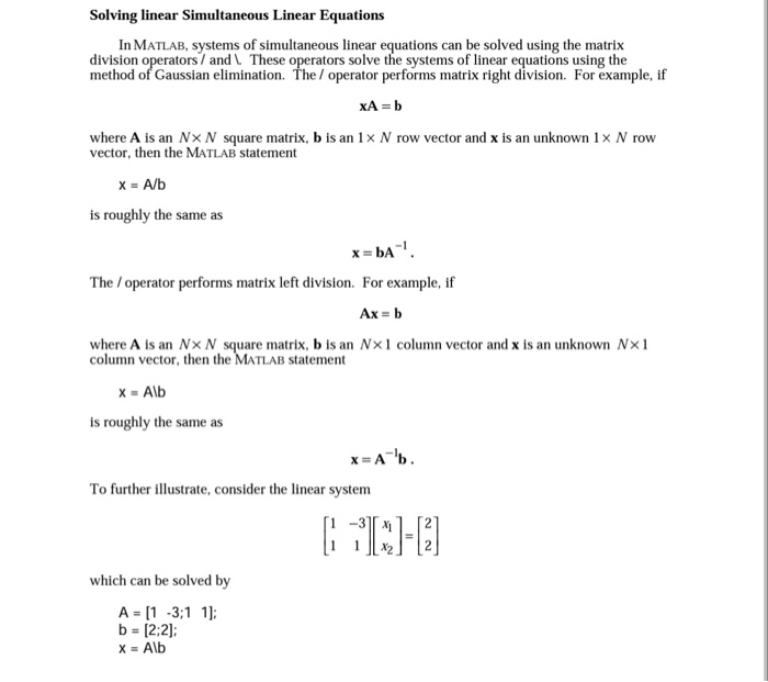 Solving Linear Simultaneous Linear Equations In Ma Chegg