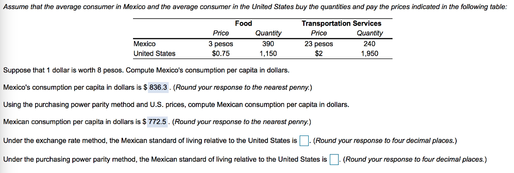 Solved Assume That The Average Consumer In Mexico And The Chegg Com