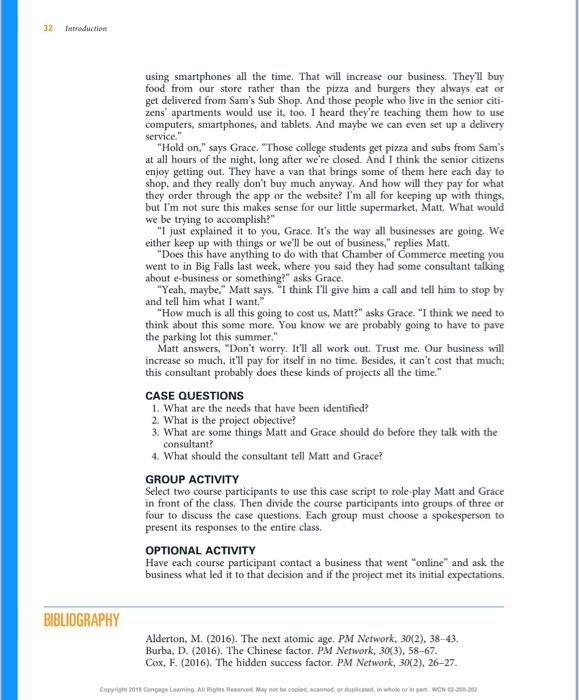 Solved: Chapter One , Case Study 2 Book:Successful Project