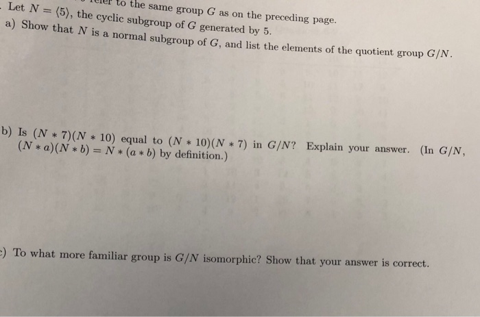 Solved Leler To The Same Group G As On The Preceding Page