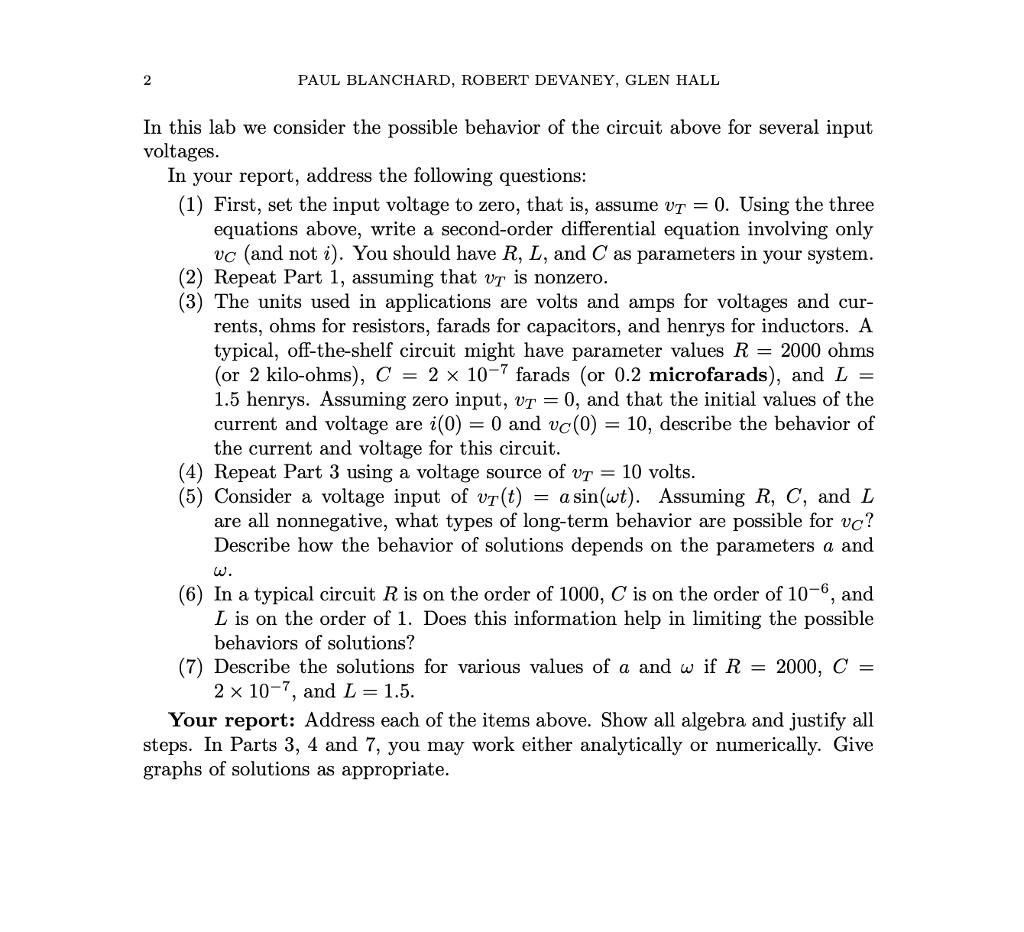 Differential equations. RLC circuits. RLC CIRCUITS PAUL BLANCHARD ...