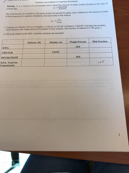 Solved: Solutions And Colligative Properties Worksheet Mol ...