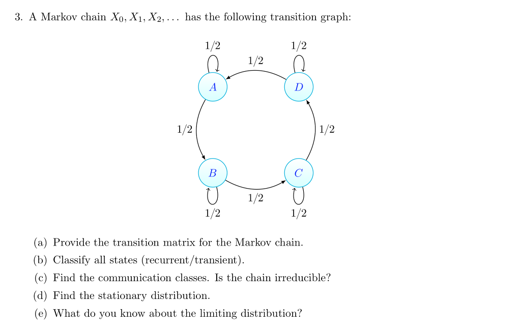 solved 3 a markov chain xo x1 x2 has the following tr