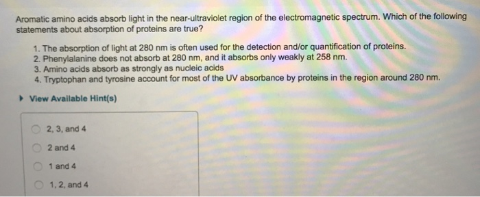 Solved: Aromatic Amino Acids Absorb Light In The Near-ultr ...