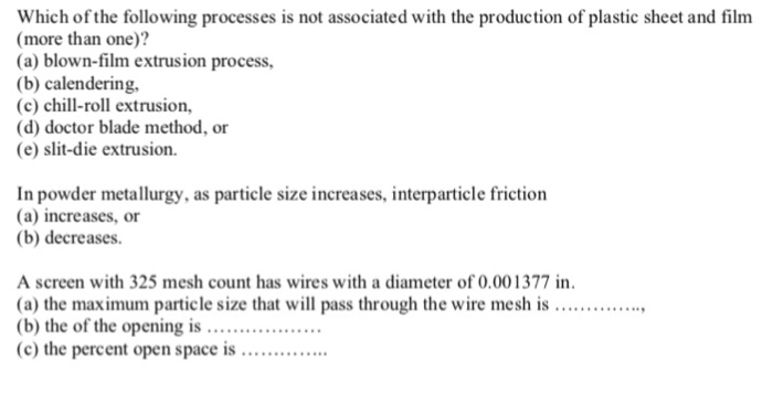 Solved: Which Of The Following Processes Is Not Associated
