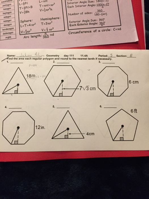 Solved Each Interior Angle 180f 2 Nt Interior Angle Sum