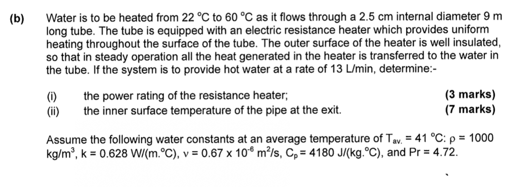 Water Is To Be Heated From 22 C 60 As It Flows
