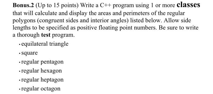Write A C++ Program Using 1 Or More Classes That W... | Chegg.com