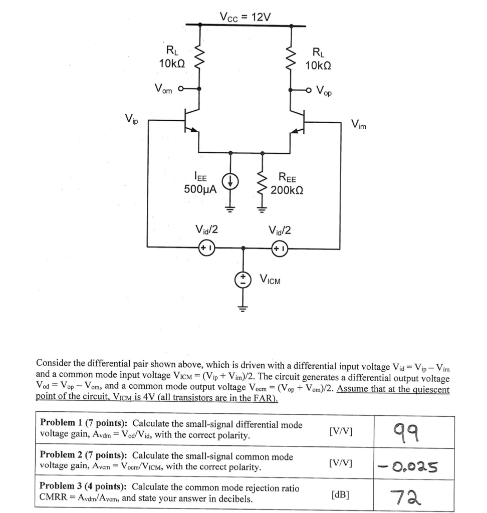 Solved: Vcc 12V 10kQ Op Vim REE 200kΩ 500μΑ Vid/2 Vid/2 IC