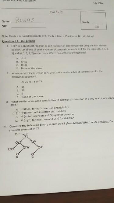 Solved: CS 4306 Test 3 -02 Ro Da S Name: Grade: NID: 100 N