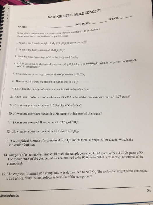 Solved: WORKSHEET 8: MOLE CONCEPT POINTS: DUE DATE: NAME S ...