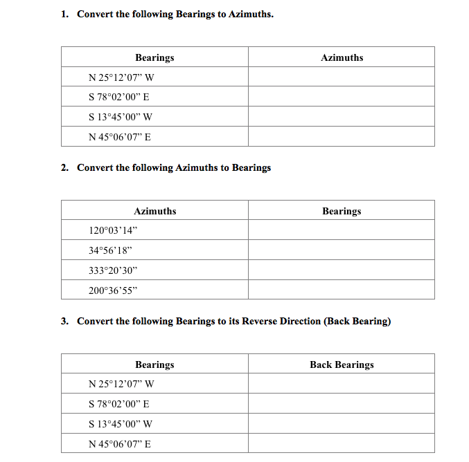 Convert The Following Bearings To Azimuths N 25 1207 W S