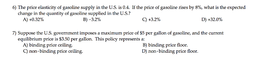 Solved 6 The Price Elasticity Of Gasoline Supply In The