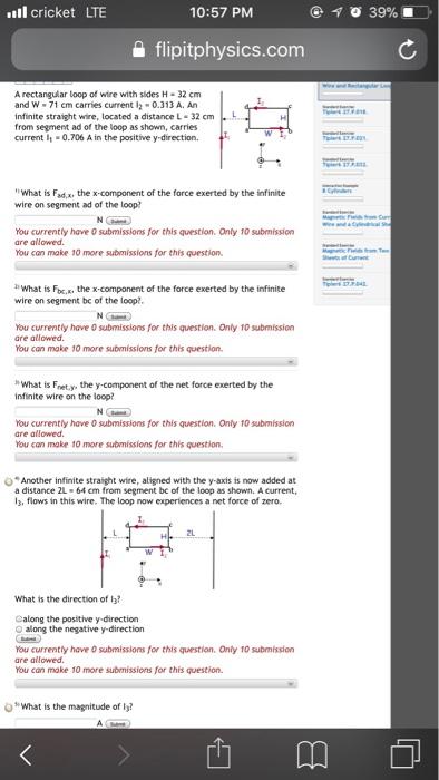 Solved: Ll Cricket LTE 10:57 PM 을 Flip tphysics com A Rec