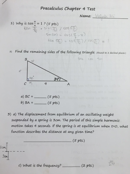Precalculus Chapter 4 Test Name 1 Why Is Tan 1 S Pts