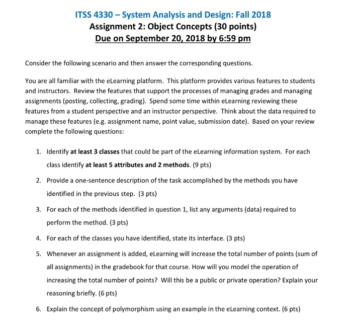 Solved Itss 4330 System Analysis And Design Fall 2018 Chegg Com