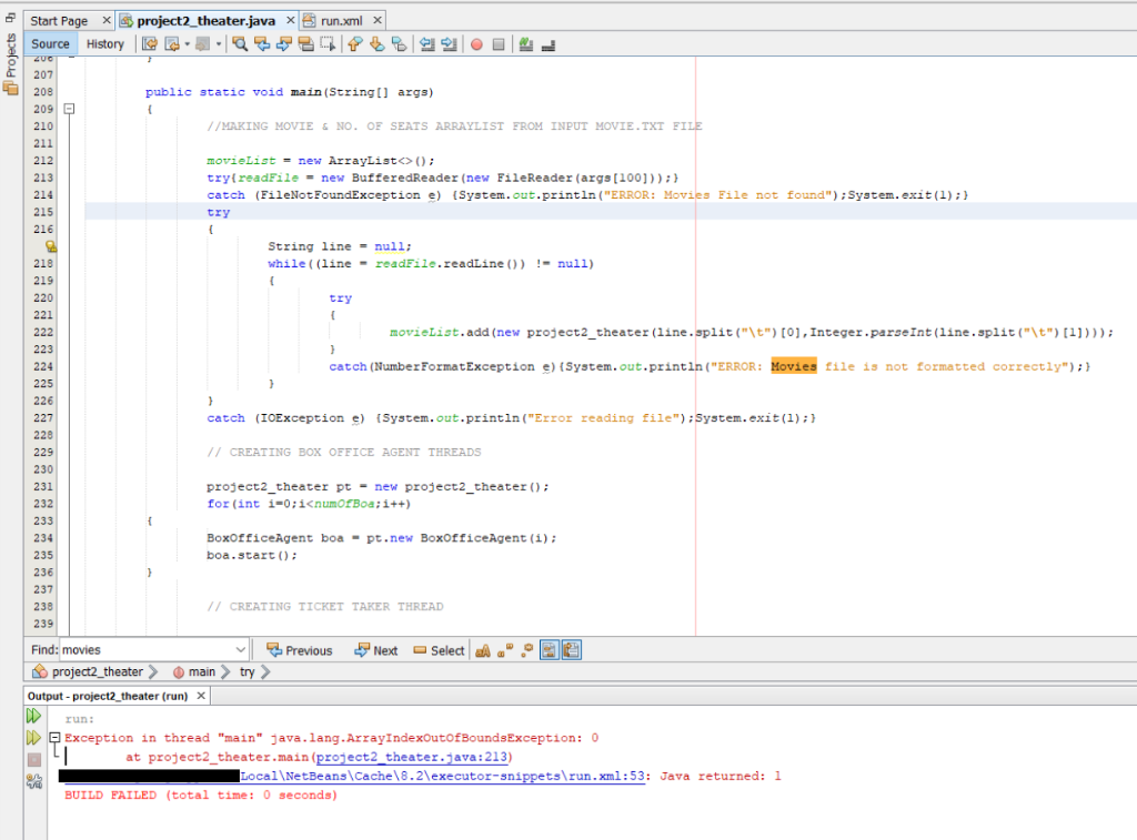 Solved: Start Page X Es Project2-theater java X솝 Run xml