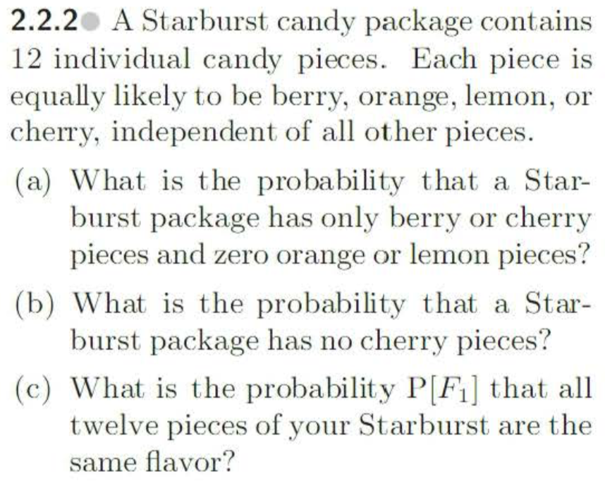 Solved: 2 2 2 A Starburst Candy Package Contains 12 Indivi