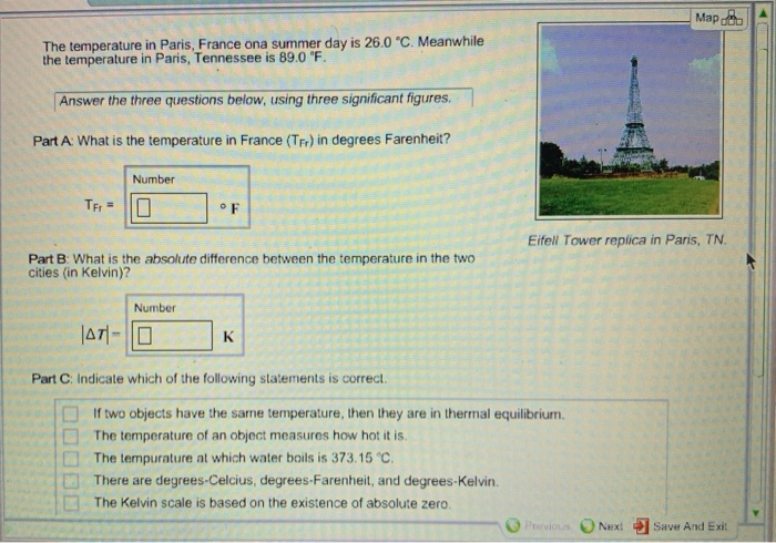 Solved: Map The Temperature In Paris, France Ona Summer Da