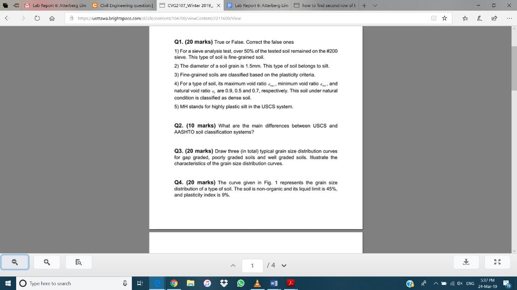 Solved: -O M Lab Report 6: Atterberg Lim Civil Engineering